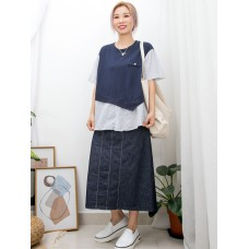 2011-1340 前幅下擺開胸扣鈕 X 直紋恤衫料 X 淨色COTTON料 , 假兩件TOP (韓國)0