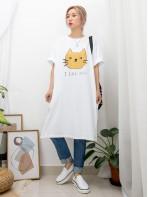2016-1071A-傻傻・貓咪- 下擺兩旁開叉 X 兩側袋 , 貓貓 X 英文字PRINT , COTTON料OPS  (韓國)