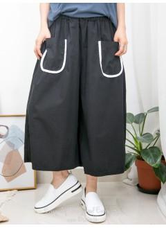 2015-1114 - U型・褲 -前兩袋 X 袋邊拼色 , 橡根腰 X 滑滑恤衫料闊褲 (韓國)