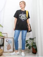 2011-1350-美式・型格- 下擺通花刺繡恤衫料 X 英文字PRINT , COTTON料TOP (韓國) 0