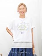 2011-1350A -美式・型格-下擺通花刺繡恤衫料 X 英文字PRINT ,COTTON料TOP (韓國) 0