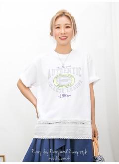 2011-1350A -美式・型格-下擺通花刺繡恤衫料 X 英文字PRINT ,COTTON料TOP (韓國)