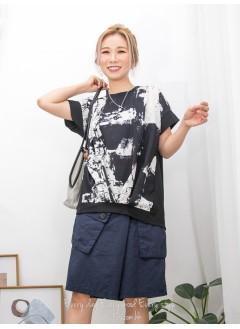 2011-1343- 藝術・氣息 - 前幅下擺打摺 X 水彩畫PATTERN滑滑恤衫料 X 淨色雙面料TOP (韓國) 0