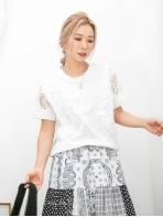 2011-1360A- 蕾絲控 - 手袖 , 兩旁通花LACE X 釘珍珠 , 銀波波 ,COTTON料TOP (韓國)