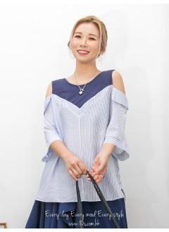 2011-1357 - 隨意・自在 -粗 , 幼直紋恤衫料 X 反領位 , 淨色COTTON料 X OFF SHOULDERS TOP (韓國)