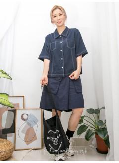 2011-1354- 日系・唯美 - 全開胸扣鈕 X 拼色車線 , 反領 X 麻棉料TOP (韓國)