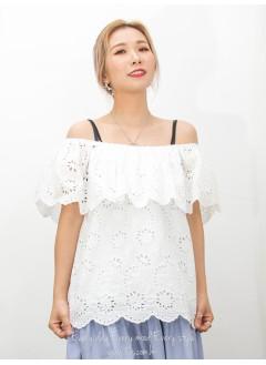2011-1344A- 優美・ruffles - 橡根領 X 胸位RUFFLE , 通花刺繡恤衫料TOP (有厘布)  (韓國) 0