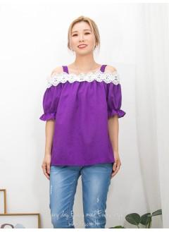 2011-1347A- 蕾絲・off shoulders - 領位 , 膊位通花LACE X 袖口橡根 , 麻棉料OFF SHOULDERS TOP  (韓國)