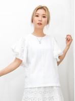 2011-1366A - 蕾絲・氣質 -手袖通花刺繡恤衫料 X RUFFLE ,  前幅三行通通LACE X COTTON料TOP (韓國) 0
