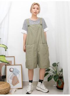 2016-1082-日系・風格- 前兩袋 X 麻棉料 , 吊帶工人短褲 (韓國) 0
