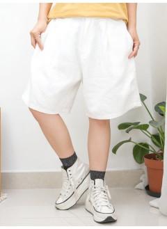 2015-1131B - 日系・男友 -前腰扣鈕 X 打摺 , 後腰橡根 X 兩側袋 , 麻棉料短褲 (韓國)0