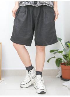 2015-1131A -日系・男友-前腰扣鈕 X 打摺 , 後腰橡根 X 兩側袋 , 麻棉料短褲 (韓國)0