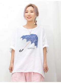 2011-1422A- 輕鬆・日系 - ' UMBRELLA ' 圖案PRINT X 麻棉料TOP (韓國)0