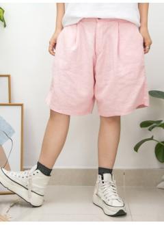2015-1131 -日系・男友-前腰扣鈕 X 打摺 , 後腰橡根 X 兩側袋 , 麻棉料短褲 (韓國)0
