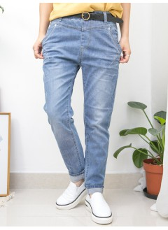 2015-1134A 靚色・舒適- SIZE M - 兩側袋 X 橡根腰 , 爛爛 X 洗水 , 牛仔褲 (韓國)0