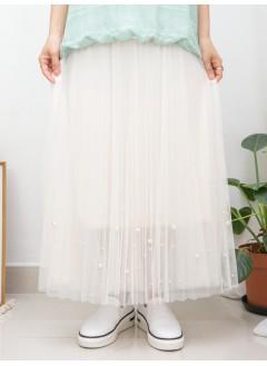 2015-1132A -珍珠・氣質-DOUBLA LAYER網布 X 百摺 , 下擺釘珠珠 X 橡根腰 , 半截裙 (有厘布) (韓國)