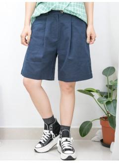 2015-1140 - 休閒・寫意 -兩側袋 X 後腰橡根 X 前腰扣鈕 , 打摺 , 麻棉料短褲 (韓國)