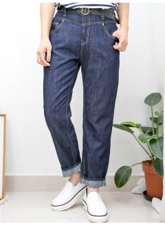 2015-1135 ~SIZE M~ 後腰橡根 X 前腰扣鈕 , 薄牛仔料直腳褲 (韓國)