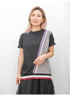 2011-1454 下擺 , 衫身一行拼色羅紋料 X 圖案PATTERN薄絨料 X 淨色雙面料TOP (韓國)