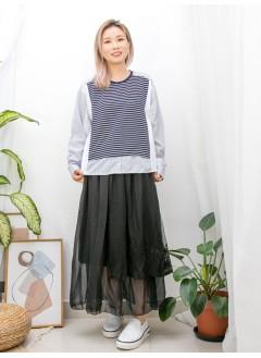 2011-1047A -- 簡約・日系 -- 手袖, 下擺直紋 X 淨色恤衫料 X 前幅橫間雙面料TOP (韓國)