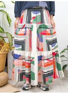 2015-1142-復古・色彩- 不規則PATTERN X 層層打摺 , 橡根腰 X 滑滑料半截裙 (有厘布) (韓國)