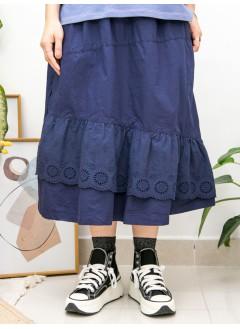 2015-1146A - 日系・蕾絲美 -下擺DOUBLE LAYER通花刺繡恤衫料 X 兩側袋 , 腰位橡根 X 恤衫料半截裙 (韓國)