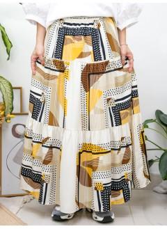 2015-1142A - 復古・色彩 -不規則PATTERN X 層層打摺 , 橡根腰 X 滑滑料半截裙 (有厘布) (韓國) -