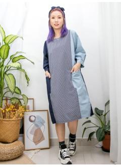 2016-1106 - 日系・藍 -前兩袋 X 下擺兩旁開叉 , 直紋 X 拼色恤衫料OPS (韓國) -