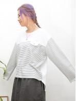 2011-1468A - 日系・橫間 -胸位假袋位 X 橫間 拼 淨色 , COTTON料TOP (韓國)  -