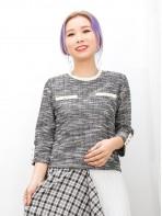 2011-1461-優雅風- 下擺兩旁開叉 X 袖口 , 胸位釘珍珠 , 花喱布料TOP (韓國) 0