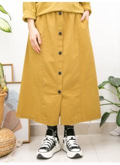 2015-1152-最百搭- 前幅下擺開叉 X 釘鈕 , 兩側袋 X 橡根腰 , 扯布料半截裙 (韓國) -