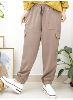 2015-1148A - 西裝・男友褲 -兩側袋 X 腳位, 腰位橡根 , 滑滑料褲 (韓國)