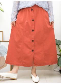2015-1152B - 最百搭 -前幅下擺開叉 X 釘鈕 , 兩側袋 X 橡根腰 , 扯布料半截裙 (韓國) -