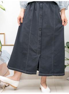 2015-1152A-最百搭- 前幅下擺開叉 X 釘鈕 , 兩側袋 X 橡根腰 , 扯布料半截裙 (韓國) -