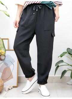 2015-1148-西裝・男友褲- 兩側袋 X 腳位, 腰位橡根 , 滑滑料褲 (韓國)