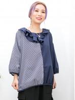 2011-1476 - 隨意・日系 -領位DOUBLE LAYER X RUFFLE , 袖口 , 下擺包邊 X 直紋 , 淨色恤衫料TOP (韓國) 0