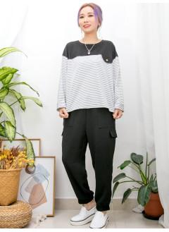 2011-1468-日系・橫間- 胸位假袋位 X 橫間 拼 淨色 , COTTON料TOP (韓國)  -