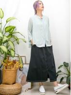 2011-1467A - 獨特美 -全開胸扣珍珠鈕 X 直紋 拼 淨色雪紡料 , 假兩件TOP (韓國)  0