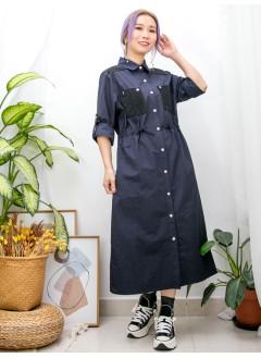 2013-1026 -裙仔/外套仔-膊位 , 袋位薄坑紋燈芯絨料 X 全開胸啪鈕 , 兩側袋 X 腰位束繩 , 風褸料兩著款 (OPS/外套) (韓國)