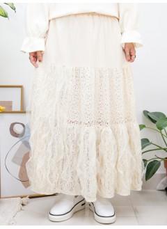 2015-1158A - Lace・Aline -通花LACE X RUFFLE網布 X 暗直紋麻棉料 , 橡根腰半截裙 (有厘布) (韓國)
