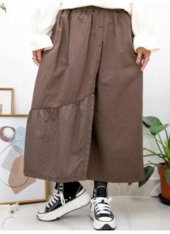 2015-1145-日系・褲子- 兩側袋 X 前幅釘鈕 , 前幅下擺通通刺繡恤衫料 X 麻棉料 , 橡根腰裙褲 (韓國)