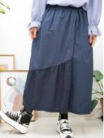 2015-1145A- 日系・褲子 - 兩側袋 X 前幅釘鈕 , 前幅下擺通通刺繡恤衫料 X 麻棉料 ,橡根腰裙褲 (韓國) 0