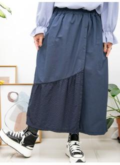 2015-1145A- 日系・褲子 - 兩側袋 X 前幅釘鈕 , 前幅下擺通通刺繡恤衫料 X 麻棉料 ,橡根腰裙褲 (韓國) -