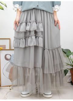 2015-1147A - 鍾情・飄逸感 -前幅層層RUFFLE X 下擺網布 X 雪紡料 , 橡根腰半截裙 (有厘布) (韓國)