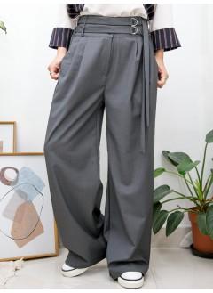 2015-1157 - 韓系・潮流 -後腰橡根 X 前腰扣腰帶 , 滑滑西裝料闊褲 (韓國)