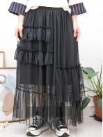 2015-1147-鍾情・飄逸感- 前幅層層RUFFLE X 下擺網布 X 雪紡料 , 橡根腰半截裙 (有厘布) (韓國) 0