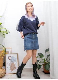 2011-1490-甜美・蕾絲 -領位通花LACE X 手袖DOUBLE LAYER網布 , 薄衛衣料TOP (韓國)