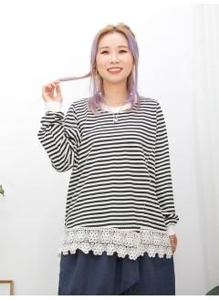 2011-1488 -我的最愛-前幅下擺通花棉LACE X 後幅, 袖口 , 領位羅紋料 , 橫間COTTON料TOP (韓國)
