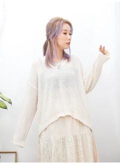2011-1499B- 最百搭 -V領 X 坑紋 ,   線仔料TOP (韓國) -
