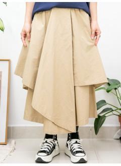 2015-1161A - 隨意・型格 -不規則下擺 X 兩側袋 , 橡根腰 X 恤衫料裙褲 (韓國) -